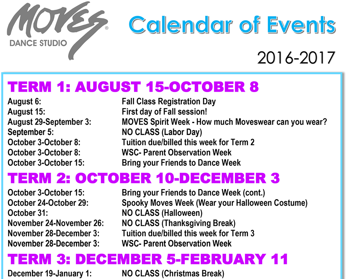 Moves Calendar of Events 2016-17