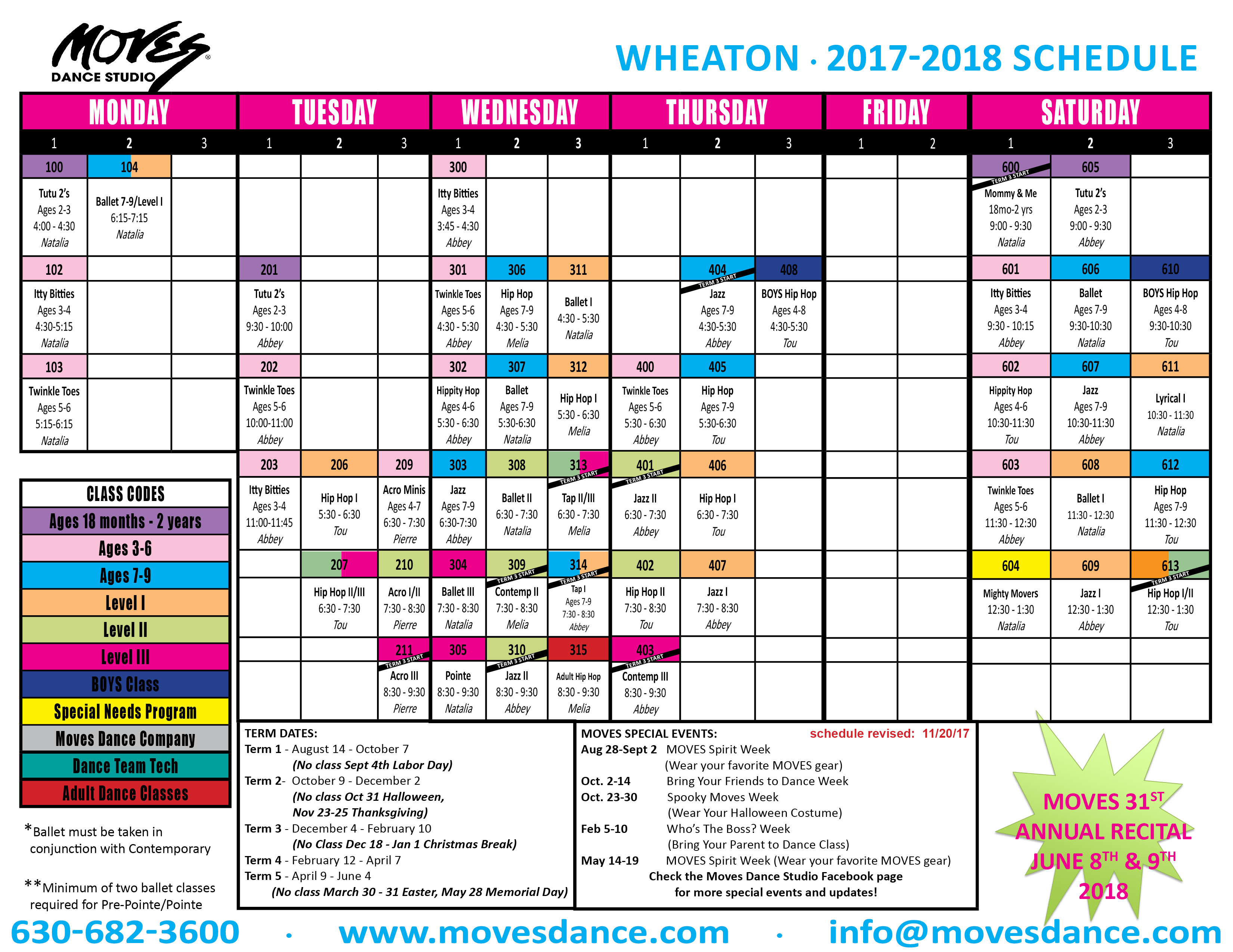 2017 - 2018 WHEATON SCHEDULE - FINAL - revised NOVEMBER 20
