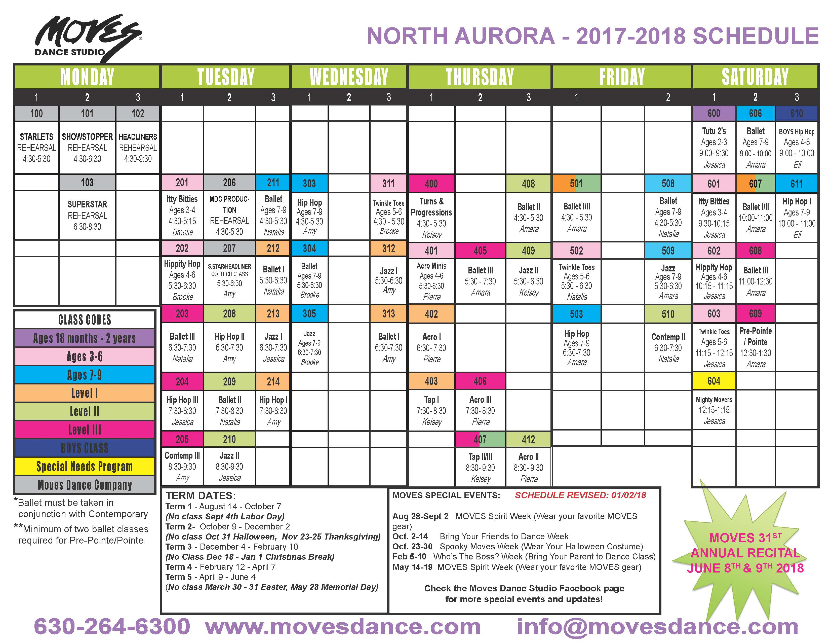 2017-2018 NORTH AURORA SCHEDULE- FINAL - revised January 2